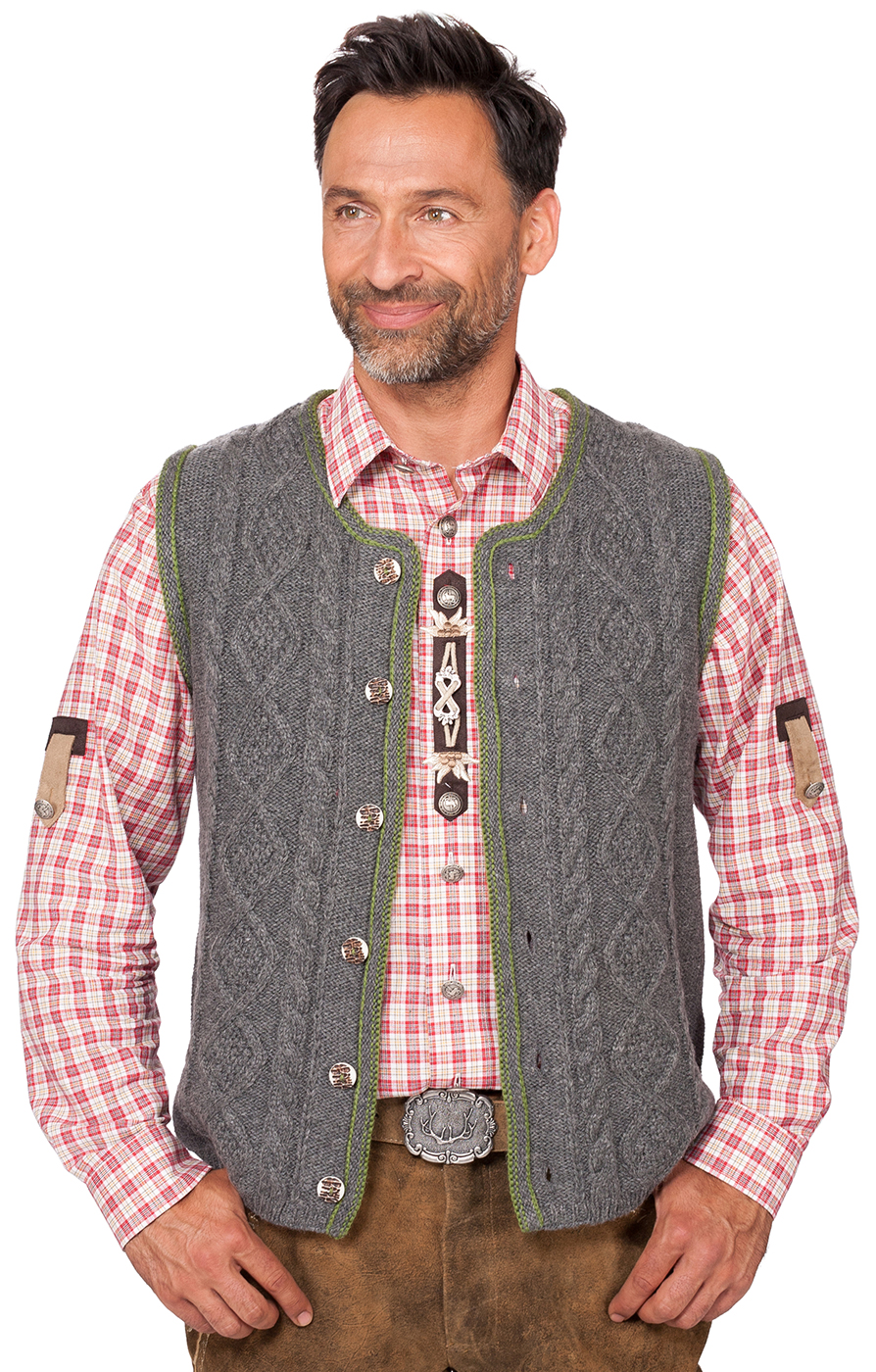 German knitted waistcoat ERMELO middle gray von Spieth & Wensky
