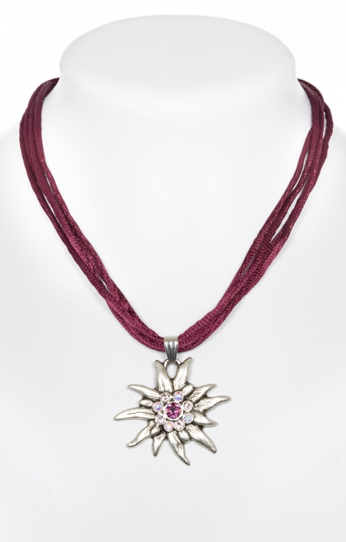 Trachten necklace with Edelweiss 9196-4 lilac