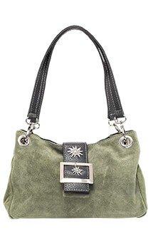 verspielte Trachtentasche Leder, oliv
