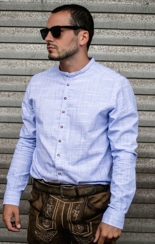 German traditional shirt HEIKO light blue