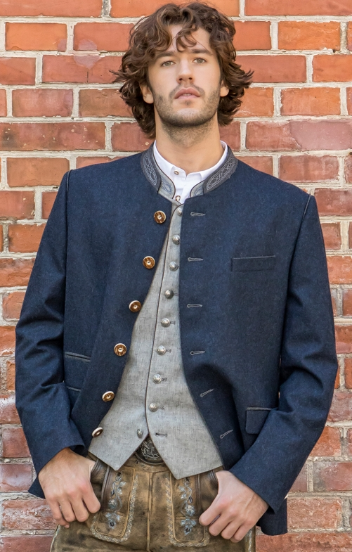 German traditional jacket TITUS blue gray