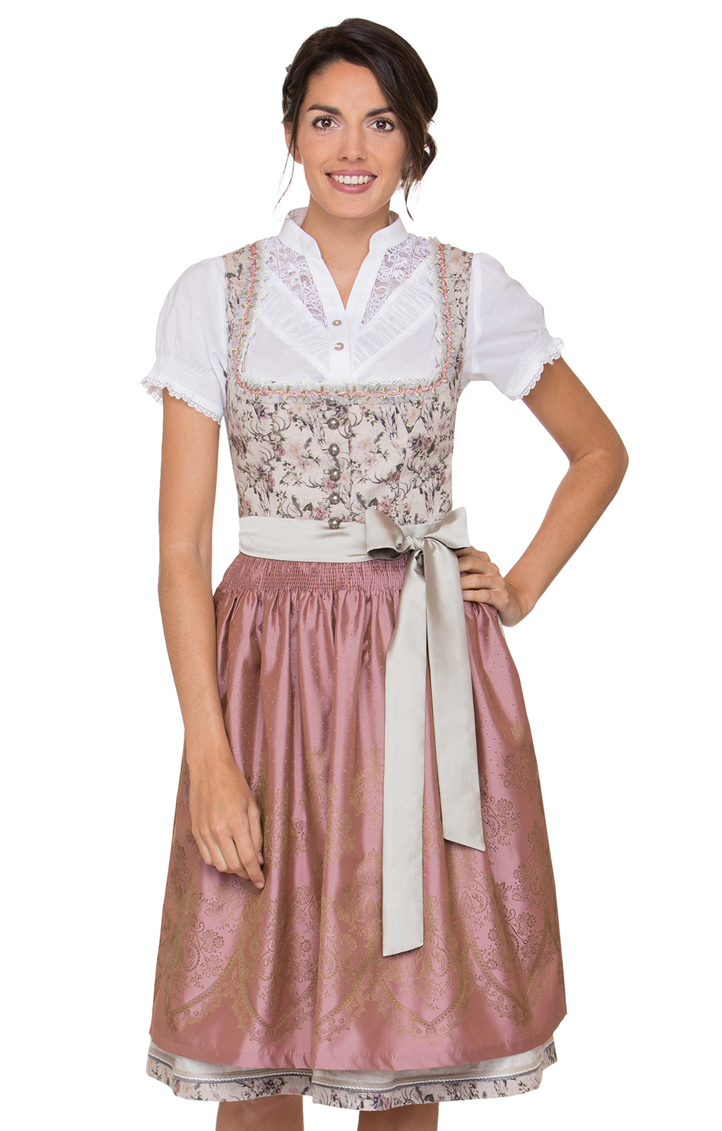 German Midi dirndl 2pcs. Campania white pink 65 cm von Stockerpoint