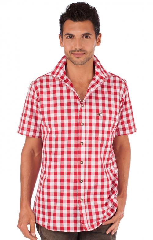 Trachtenhemd Sonnblick karo Halbarm rot