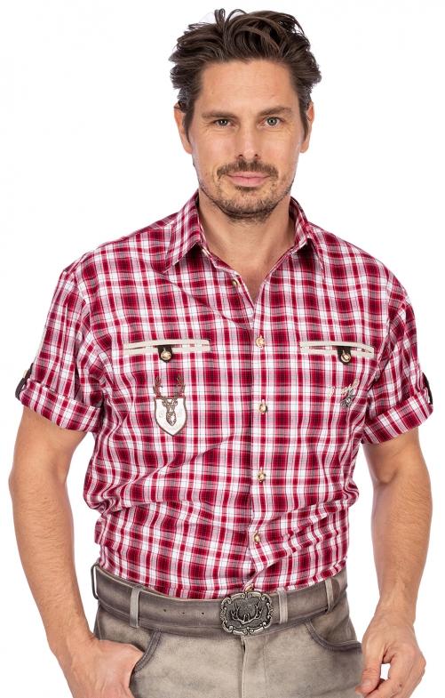 Trachtenhemd EDDI karo mix Halbarm rot