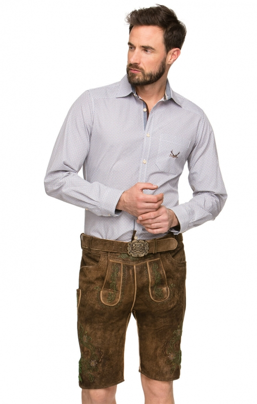 German leather trousers with belt ARON green