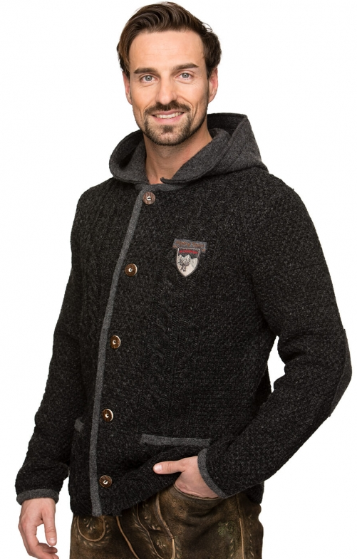 Traditional german cardigan INGMAR anthracite