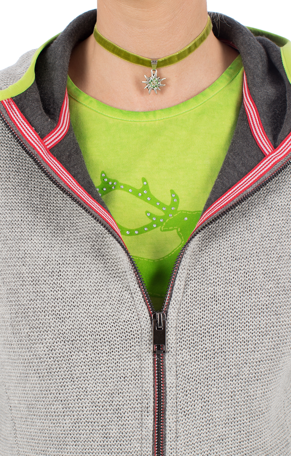 weitere Bilder von Trachtenjacke BIBERKOPF hellgrau grün