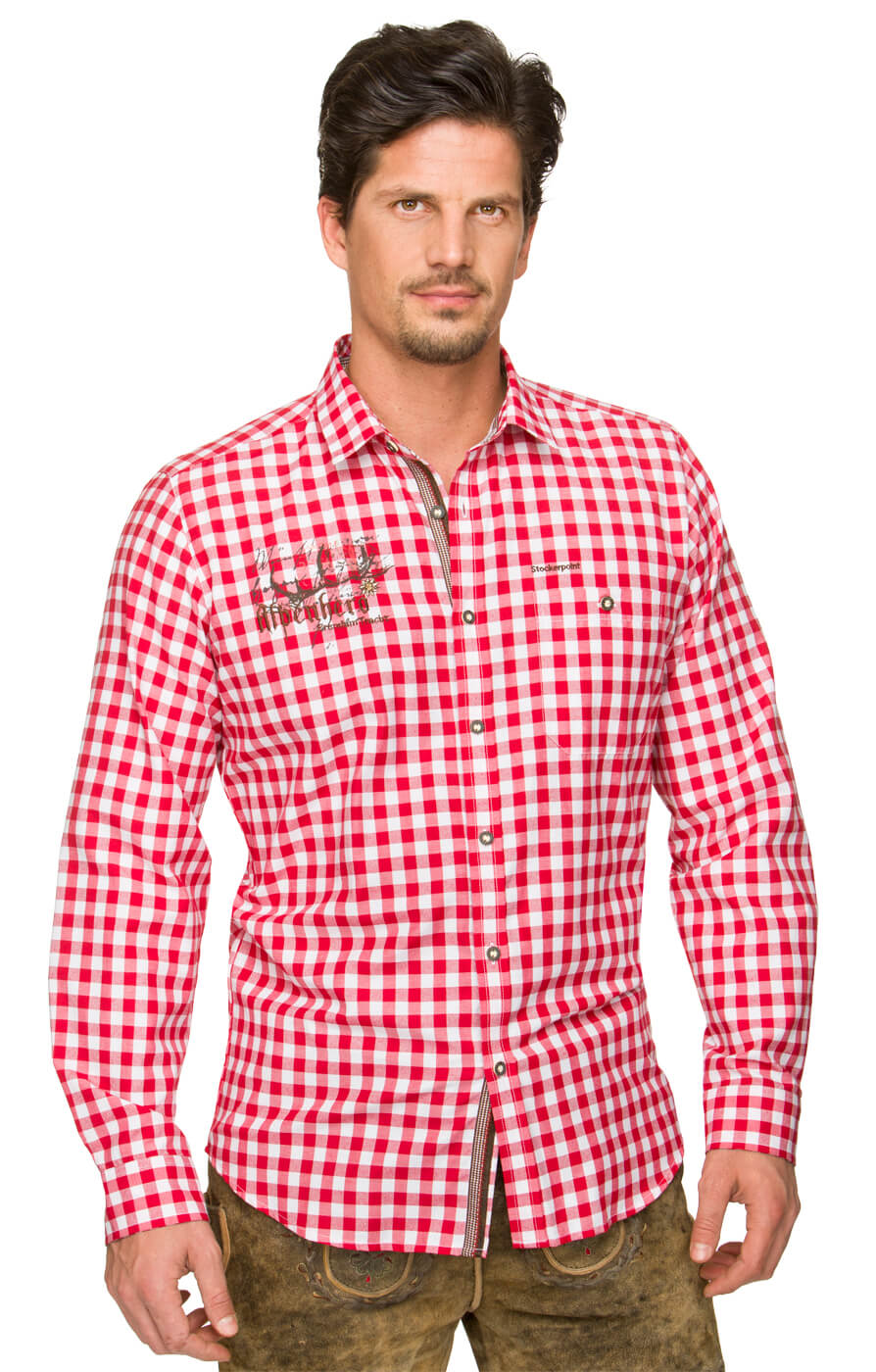 German traditional shirt Jim red von Stockerpoint