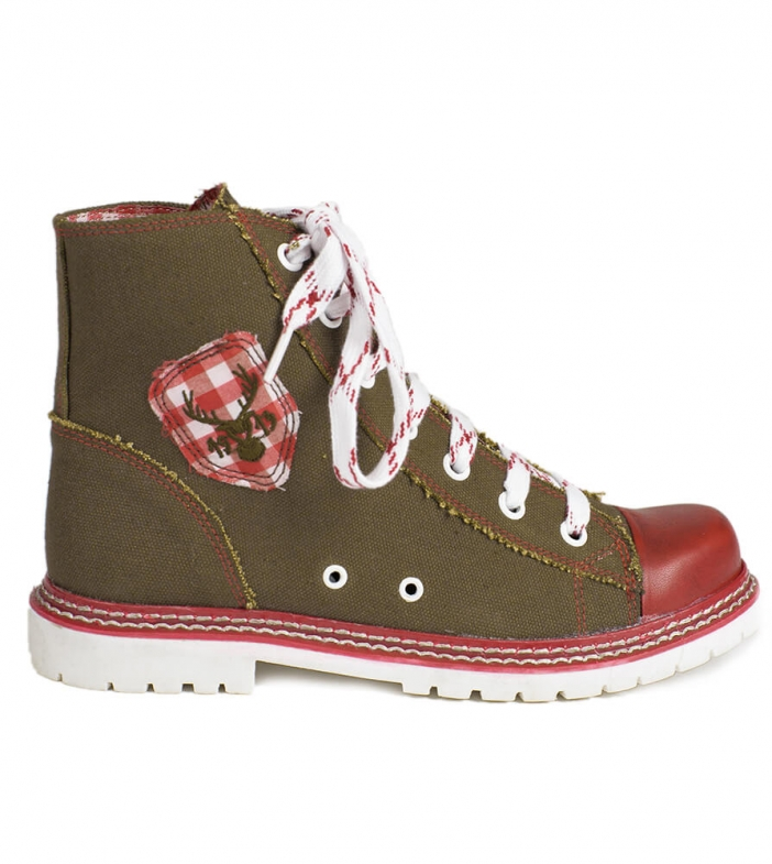 Traditional bootee D436 Jacky Canvas brown red