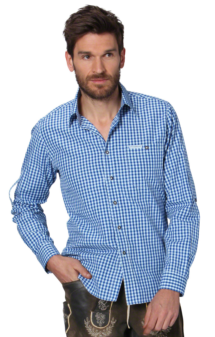 German traditional shirt checkered Campos2 blue von Stockerpoint