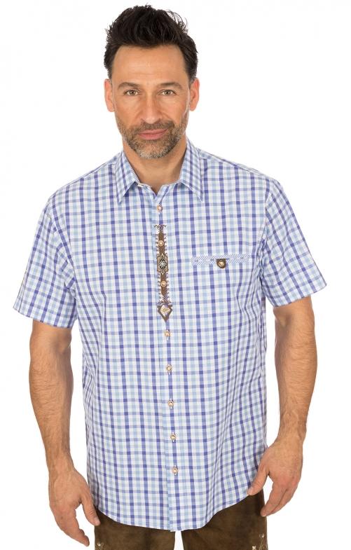 Klederdrachthemd korte mouwen blauw
