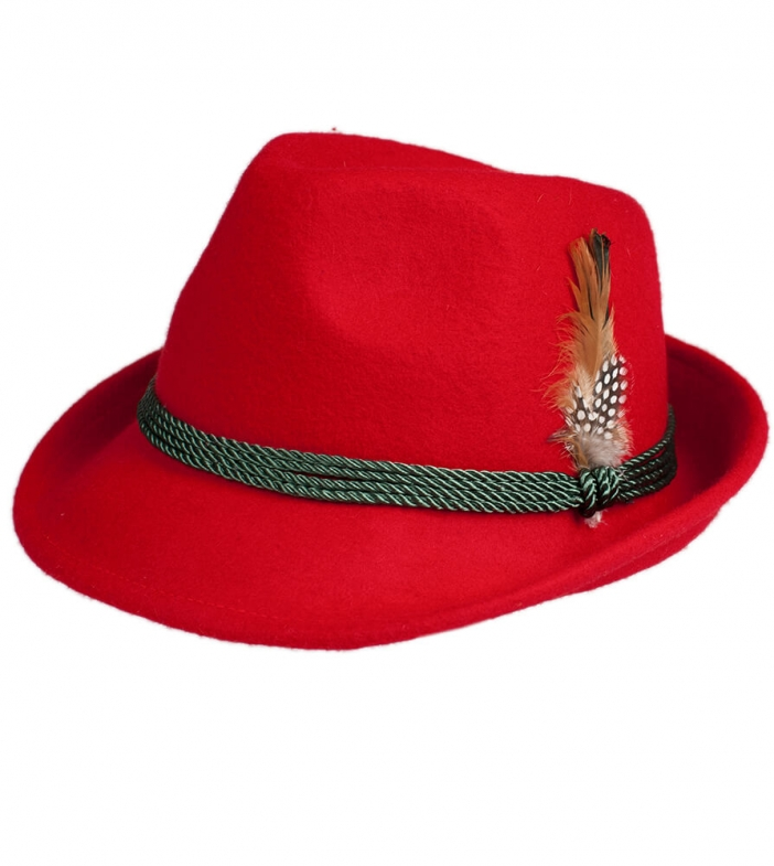 Costume hat HT750 with feather red