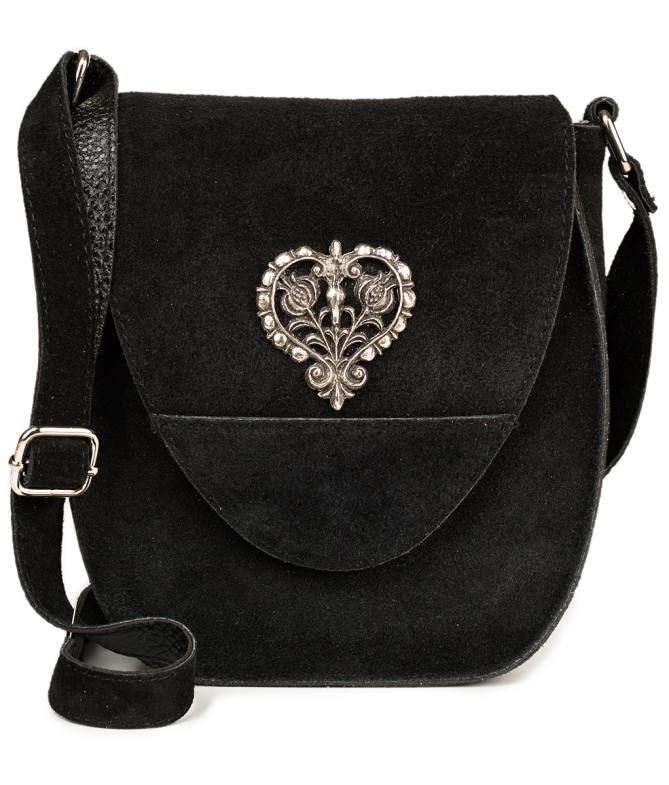 Traditional leather bag with heart TA30410-8525 black