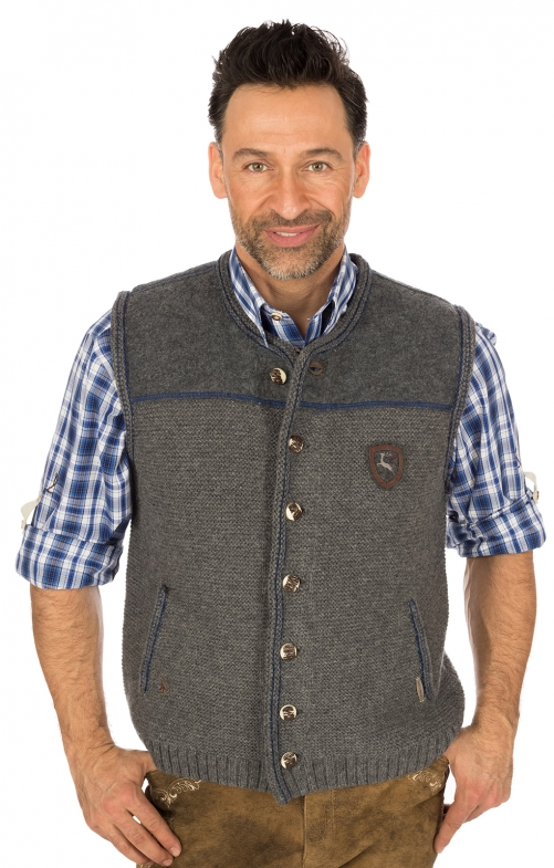 German knitted waistcoat Ramsau SW grey-denimblue