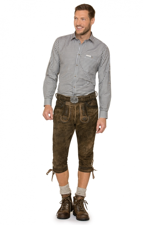 German leather trousers with belt knee JOHANN brown