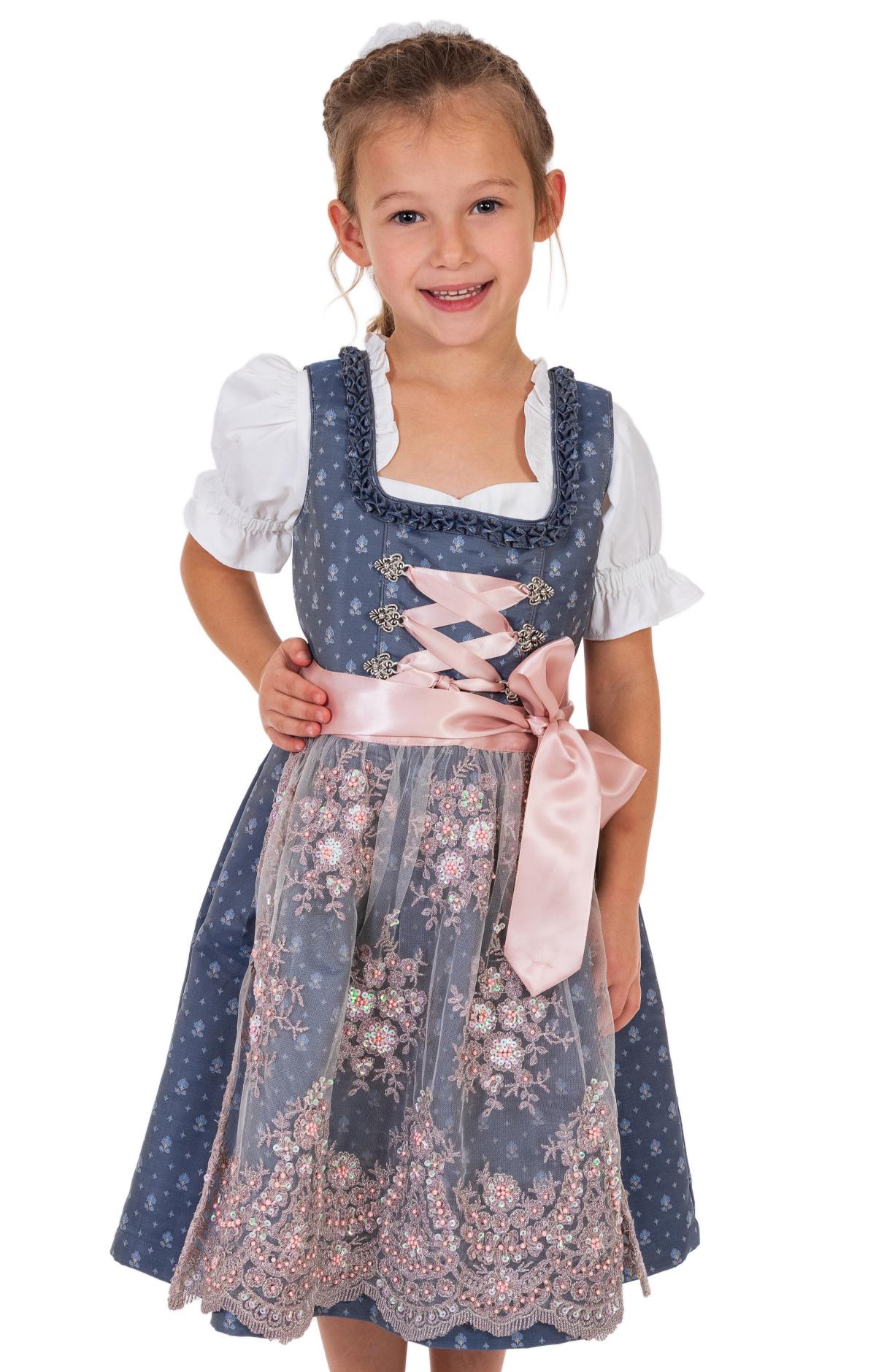 Traditional Children dirndl ABIA-KIDS taubenblue von Marjo