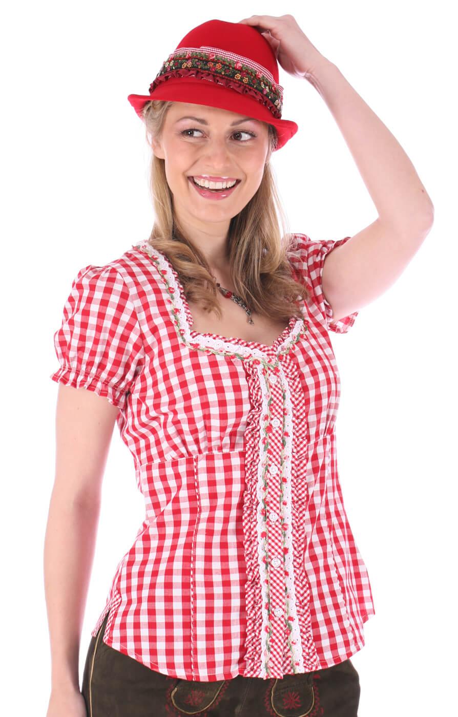 Trachtenbluse Rüschenborte karo rot von Krüger Dirndl