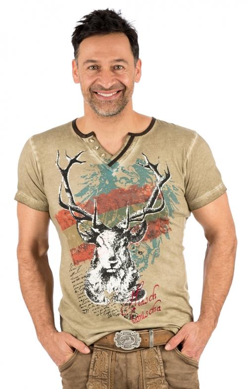 Trachten T-Shirt E45 - FABIAN AUSTRIA taupe