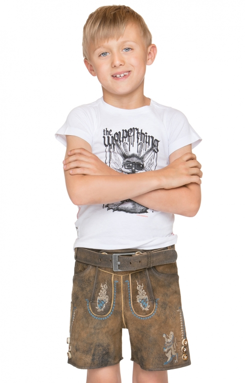 Chlidren leather trousers short Bayern JR brown