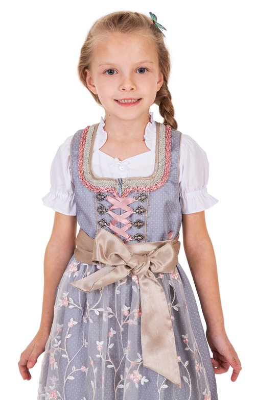Traditional Children dirndl SILENA light gray