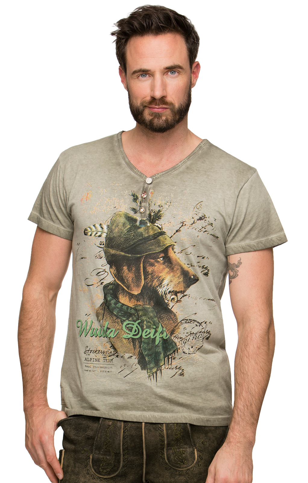 Trachten Fun T-Shirt MONTY sand von Stockerpoint