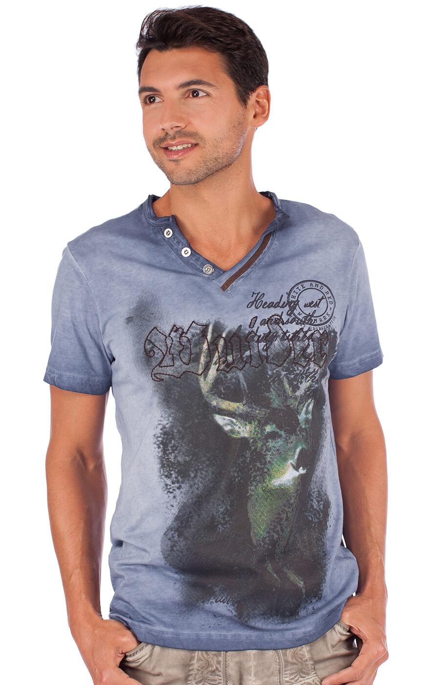 Trachtenshirt T-Shirt Uberto blau von Marjo