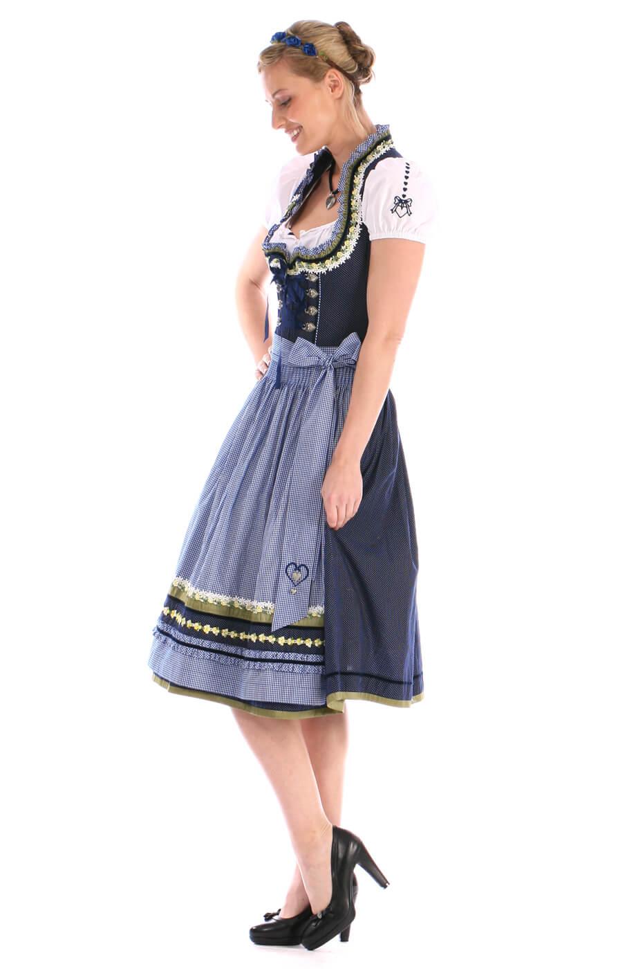 weitere Bilder von Midi Dirndl 70cm 2tlg. Alina blau