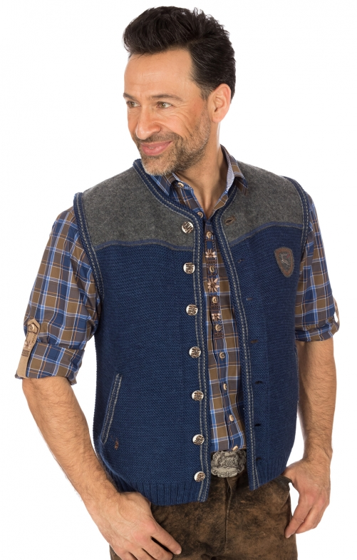 German knitted waistcoat Ramsau SW denimblue