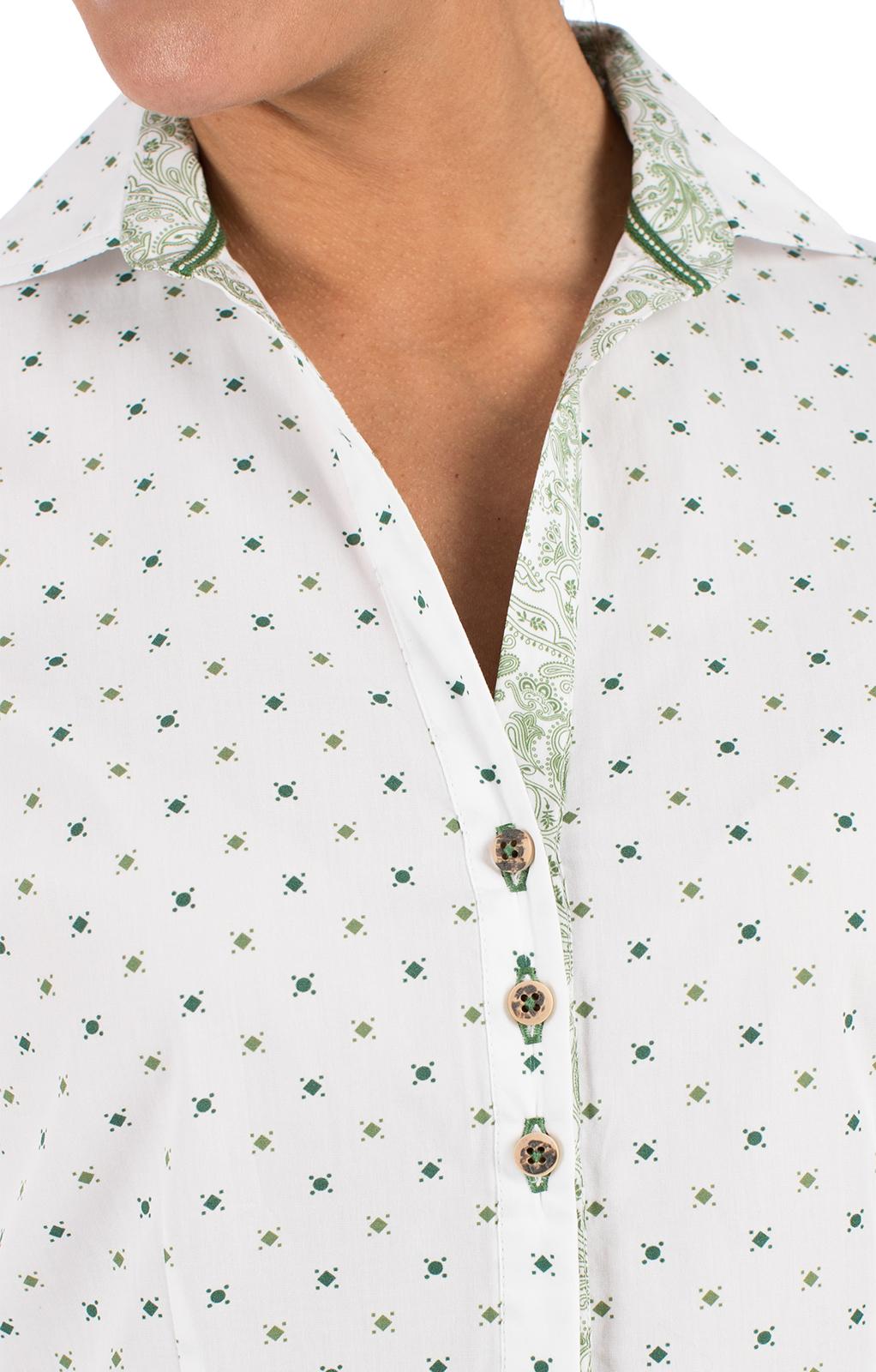 weitere Bilder von Trachtenbluse TALINA weiß grün