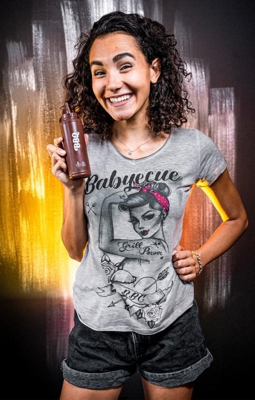 Tracht T-Shirt BABYECUE greige