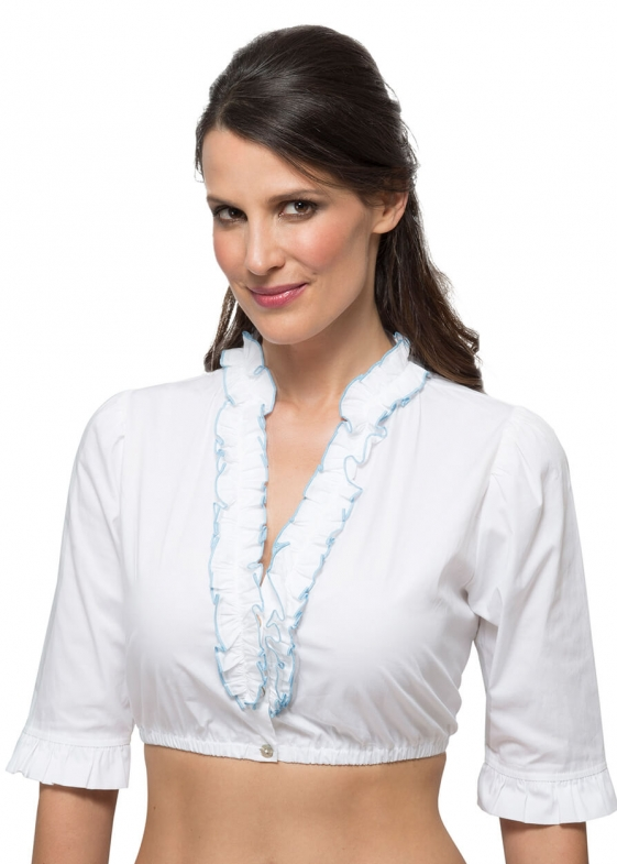Traditional dirndl blouse B8030 white blue