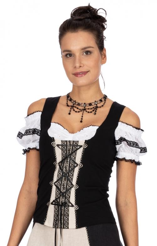 Landhaus Shirt MATHILDE-ELISA schwarz beige