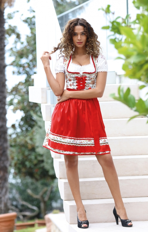 Mini Dirndl 2tlg. 55 cm ASTORIA rot