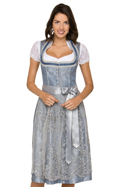 German Midi dirndl 2pcs. Liguria blue white 65 cm