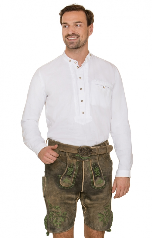 German leather trousers with belt RUDOLF brown green