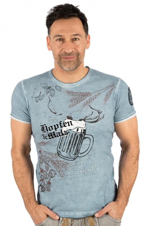 Trachten T-Shirt E50 - HOPFEN blau