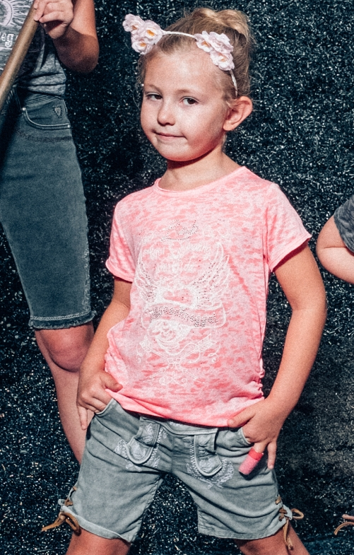 Children traditional shirt ESME - KIDS neon pink