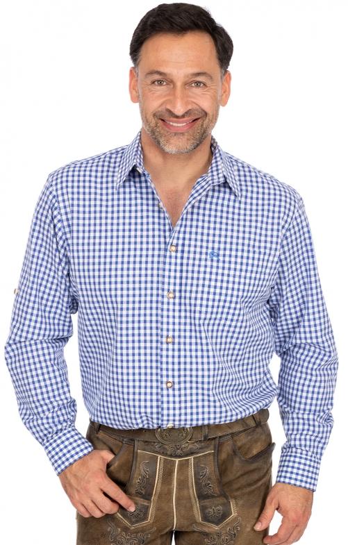 Karo Langarmhemd BASIC blau