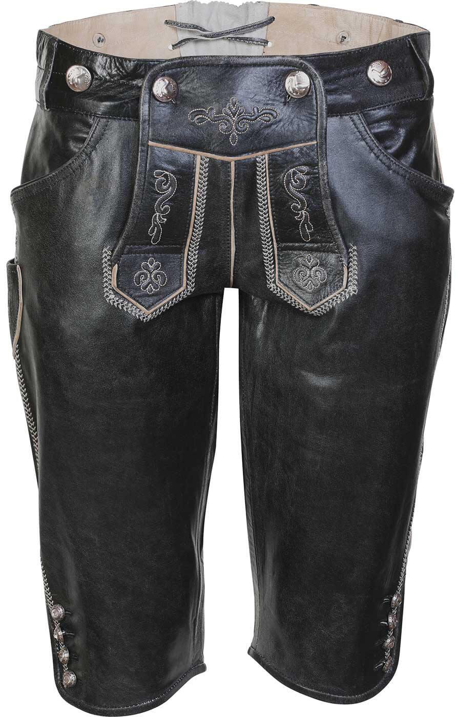 weitere Bilder von Tradizionale Pantaloni di pelle lunghezza al ginocchi CASSIE nero