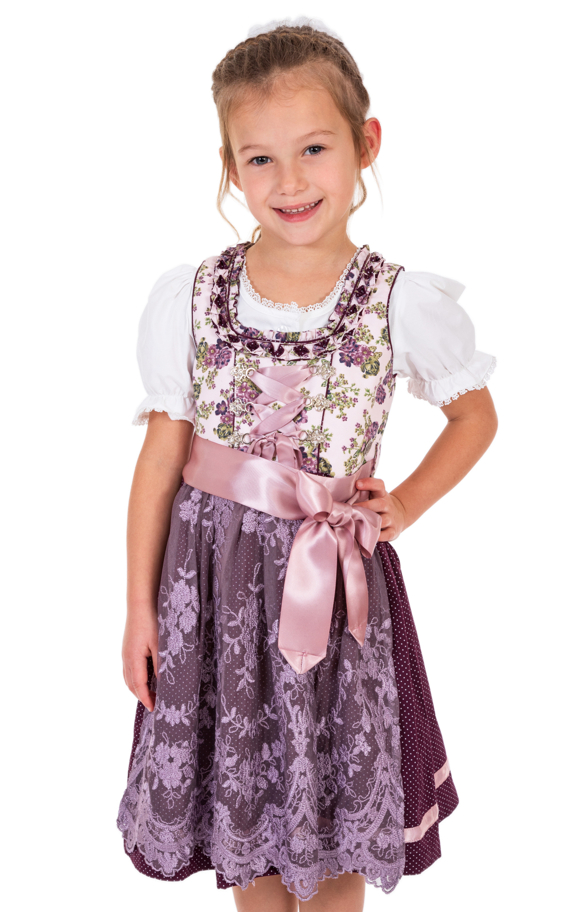 Traditional Children dirndl DANNILEIN-KIDS mauve blackberry von Marjo
