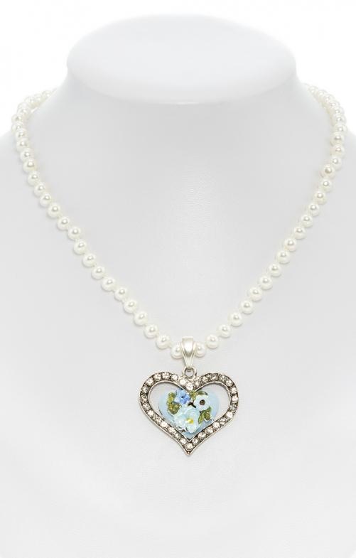 Collana di perle con pendente a cuore blu