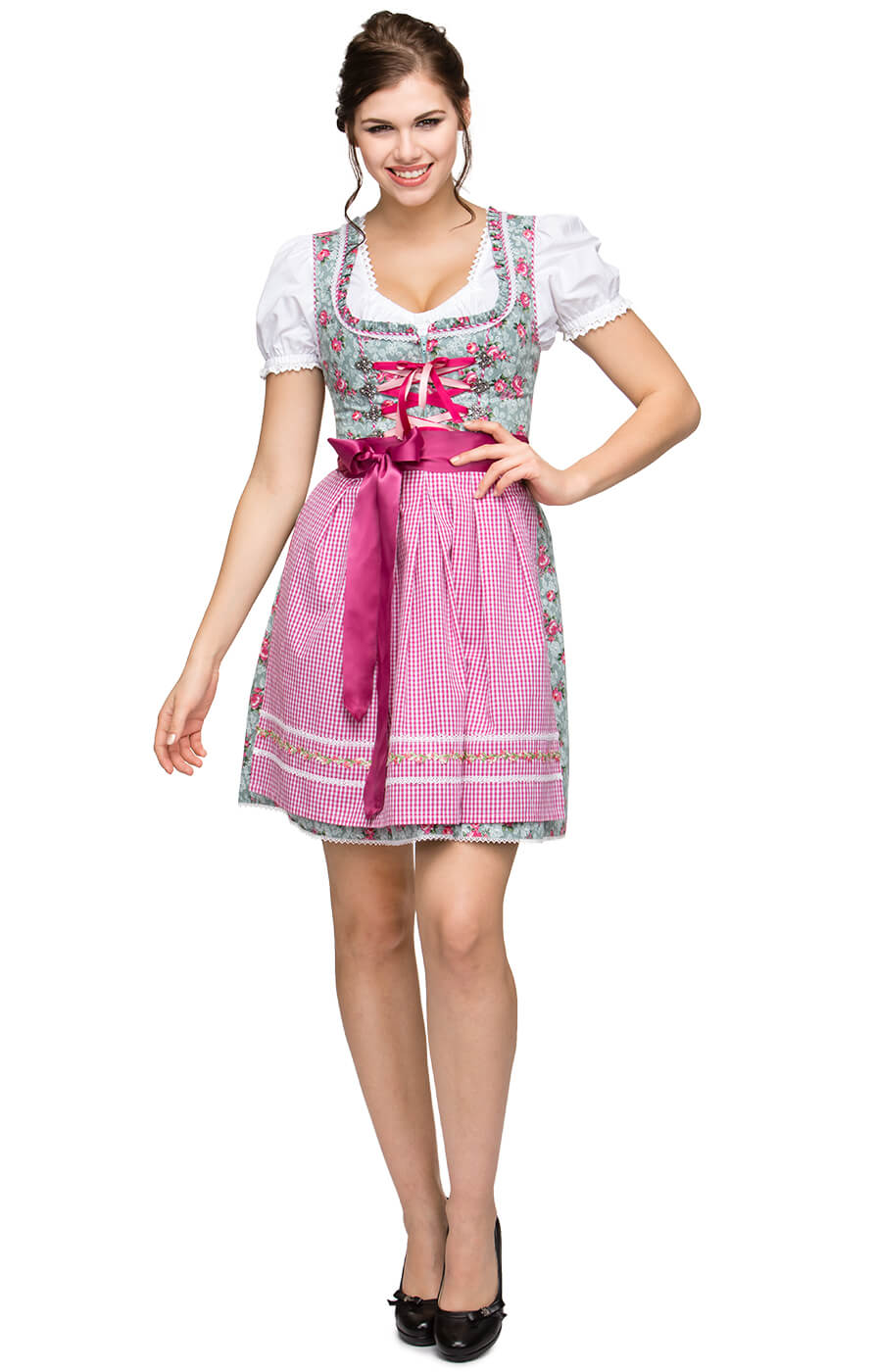 German Mini dirndl 2pcs. AURA pink 55cm von Stockerpoint