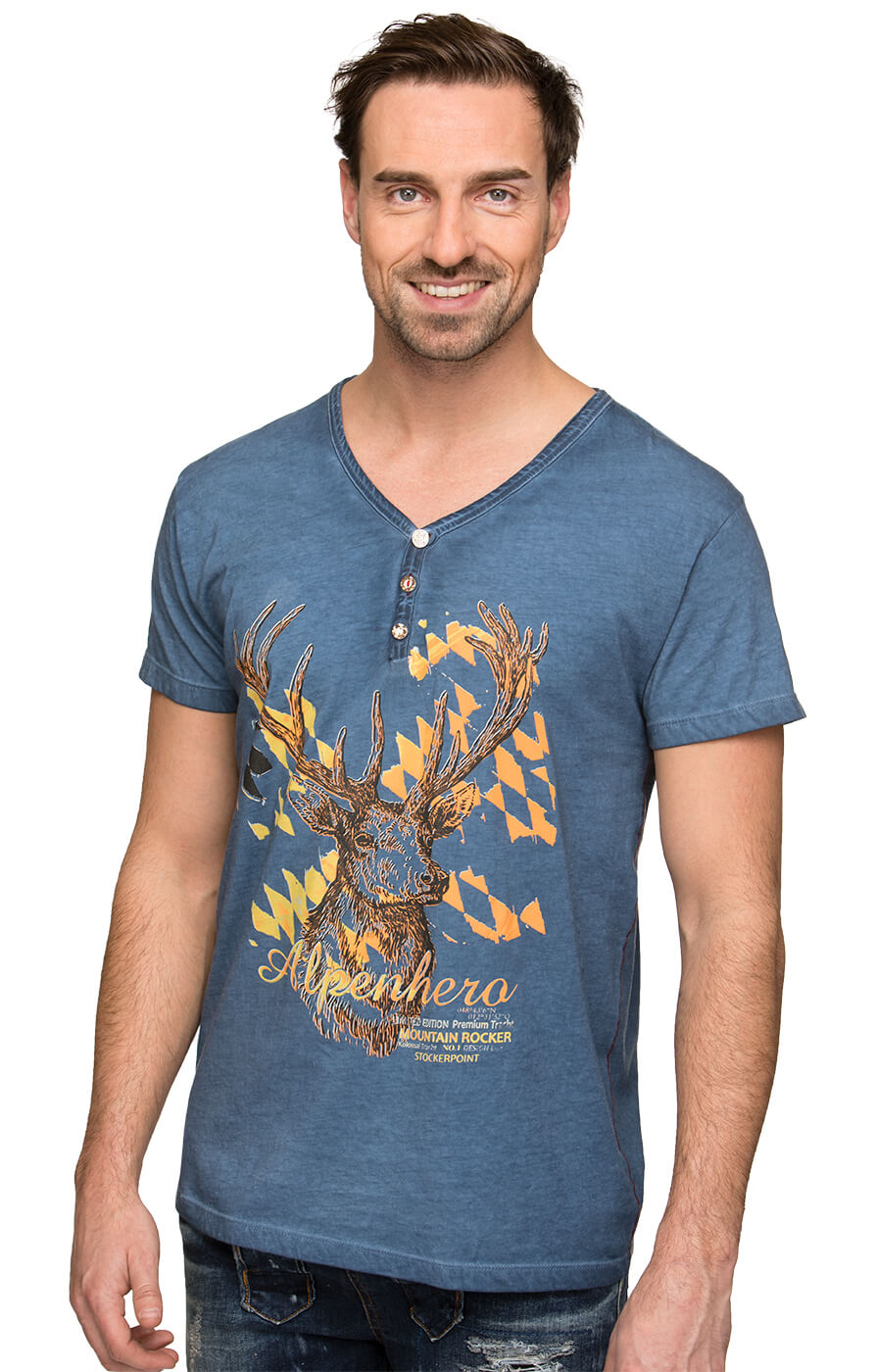 Traditional German T-Shirt Feli blue von Stockerpoint
