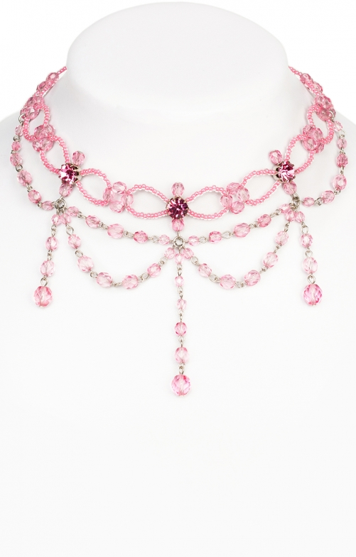 Glass pearls collier 12223 pink