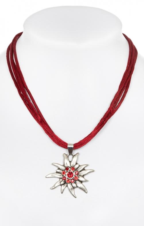 Halskette mit Edelweiss 9196-4 bordeaux
