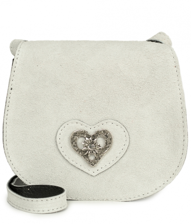 Traditional leather bag with heart TA30340-8489 white