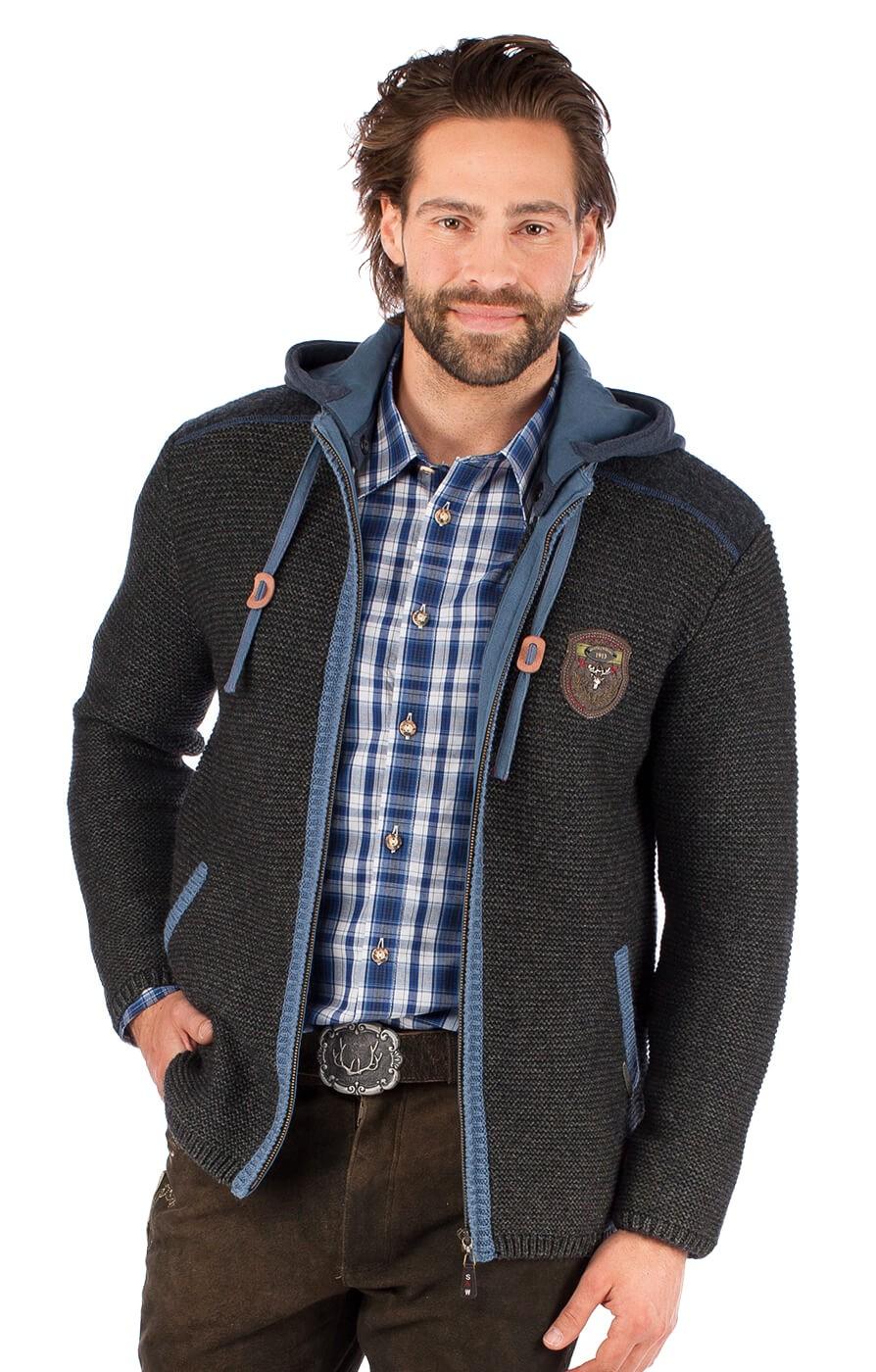 Spieth & Wensky Trachten Strickjacke DAKAR Hoodie dunkel grau blau