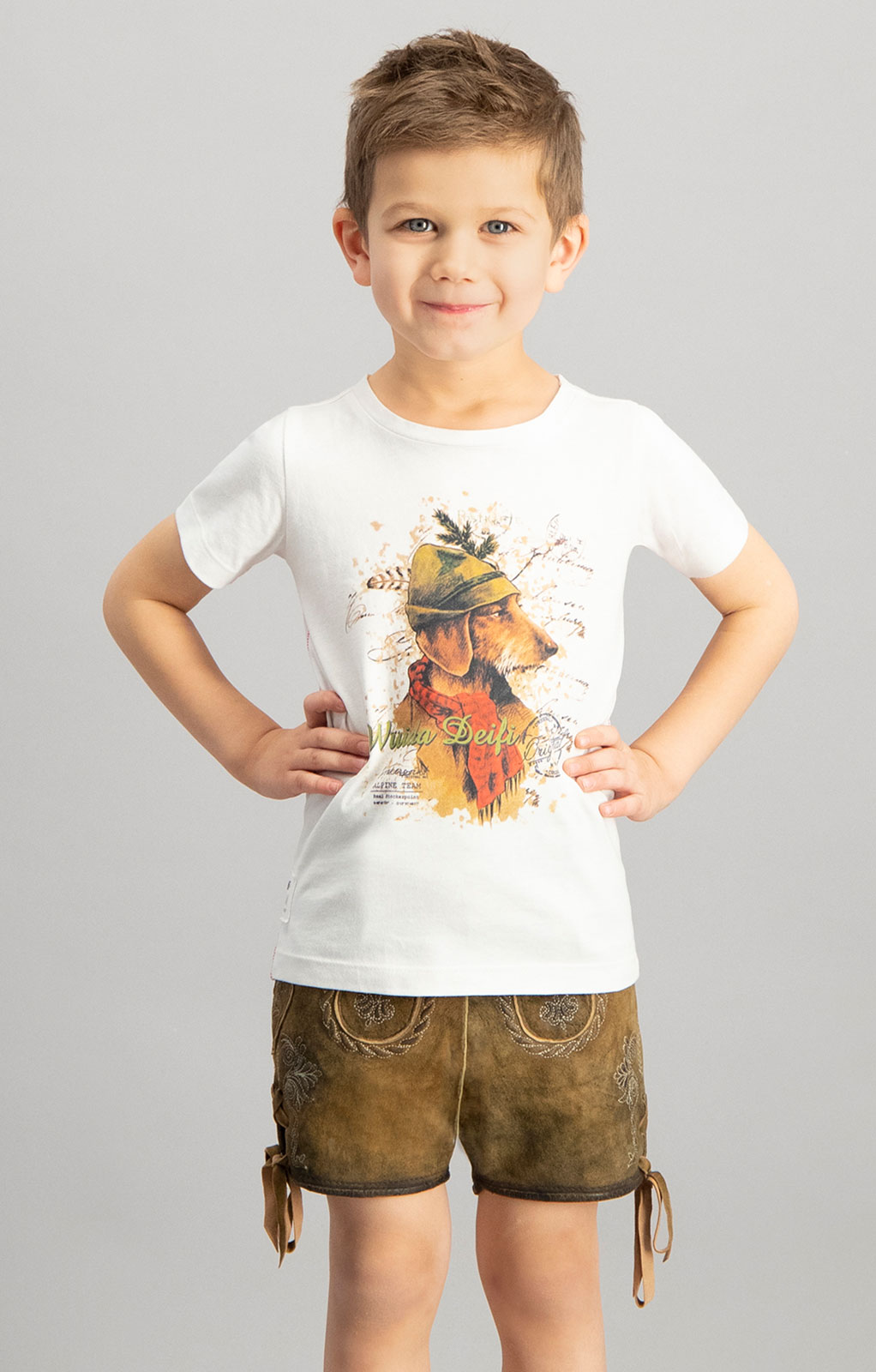 Trachten Kinder T-Shirt MONTY Junior weiß von Stockerpoint