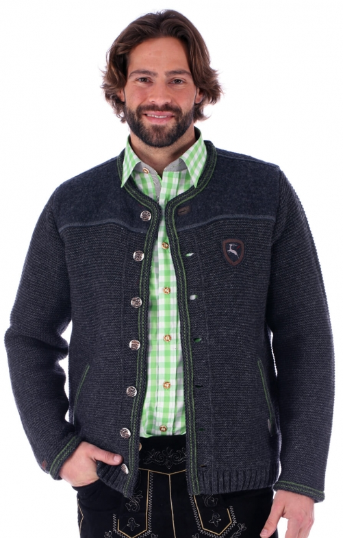 Traditional german cardigan Ramstein SJ greygrass