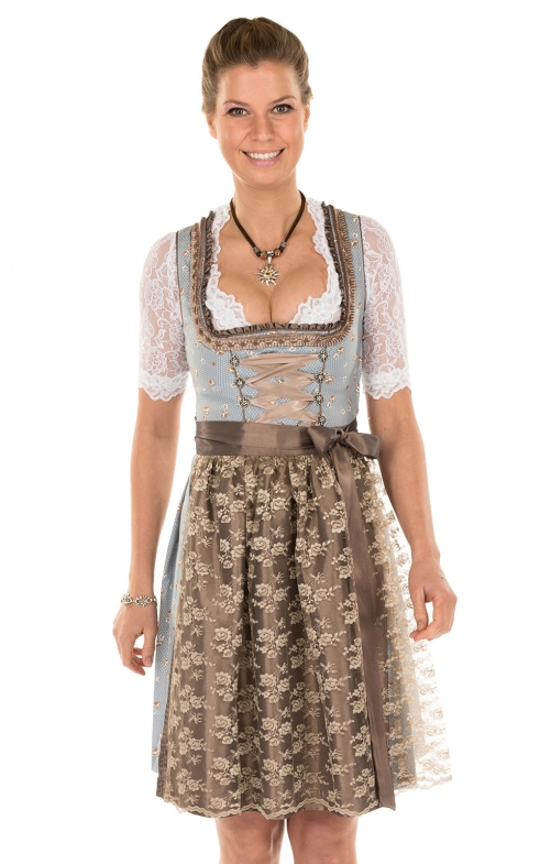Minidirndl 2pcs. 55 cm ESTELLA blue brown